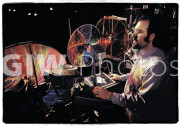 Ken Richman with Joshua Light Show color wheels and gear, Fillmore East 1969