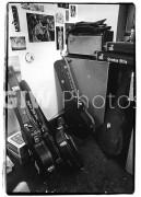 Steven Stills' guitar cases in the dressing room backstage at Fillmore East, June 3, 1970