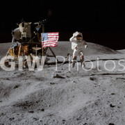 Astronaut John W. Young walking on the moon