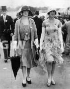 1929 Clothing Ascot FashionsWomen wearing dresses with cardigans, chiffon ruffle skirt detail. long gloves, carrying an