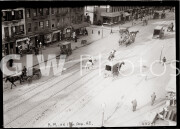 New York City. Train tracks and horse-drawn carts on 11th Avenue.