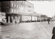 New York City. Horseback rider preceding railroad train on 11th Avenue.
