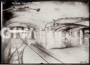 Chicago, Illinois. Tracks and train cars in freight tunnel.