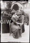 New York City. April 1913. Helen Keller (1880-1968) with her teacher Anne Sullivan Macy (1866-1936) possibly at the
