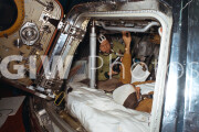 c. 1975. Alexei Leonov, Soyuz commander, and Alan Bean, Apollo backup crew commander, train for activities on the first