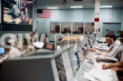 July 1975. View of the Mission Operations Control Room (MOCR) at JSC during a docking simulation for the ASTP flight. A