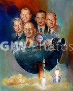 April 1975. Apollo-Soyuz Test Project (ASTP) symbolic painting by artist Bert Winthrop of Rockwell International Space