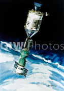 May 1975. An artist's concept depicting the American Apollo spacecraft docked with a Soviet Soyuz spacecraft in Earth