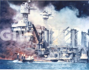 Pearl Harbor, Hawaii. December 7, 1941. Ships burning during Japanese attack on Pearl Harbor.