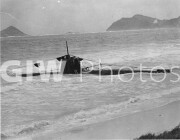 Pearl Harbor, Hawaii. December 7, 1941. Captured Japanese two-man submarine at Bellows Field after the Japanese attack