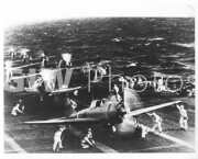 Pearl Harbor, Hawaii. December 7, 1941. Captured Japanese photograph of Japanese Mitsubishi divebombers warming Up on