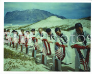 Pearl Harbor, Hawaii. Spring 1941. Sailors paying tribute to casualties of the Pearl Harbor attack at a Hawaiian Islands