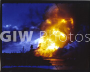 Pearl Harbor, Hawaii. December 7, 1941. USS Arizona exploding at Pearl Harbor after Japanese attack.