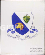 Coat of Arms for the 100th Infantry Battalion. The coat of arms has a Taro leaf and warrior's helmet, representative of
