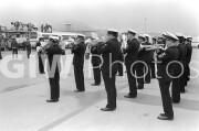 Andrews Air Force Base, Maryland. 1981. The U.S. Navy Band plays to welcome the Americans held hostage by Iran home after their release.
